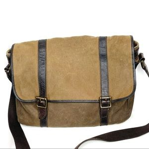 Waxed Canvas & Leather Fossil Messenger Bag